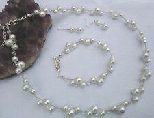 Perlen Schmuckset Kette weiß Armband Collier Ohrhaken 925 Silber Hochzeit NEU