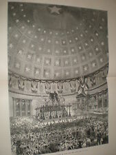 Funeral king Victor Emmanuel II of Italy in pantheon Rome 1878  large old print