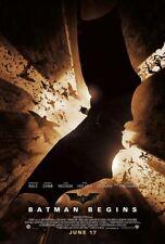 BATMAN BEGINS Christian Bale Original Double Sided 27x40 Movie Poster 2005 - D