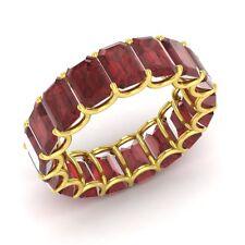 Certified 12.72 Ctw Emerald Cut Garnet 14k Yellow Gold Full Eternity Band Ring