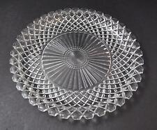 "Vintage  00004000 Clear Glass Serving Sandwich Plate Platter Geometric Diamond 14"" Gy5"