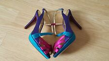 Monsoon Vintage Art Deco Fuchsia Purple Pink Teal Satin Peeptoe  Heels Size 4 37