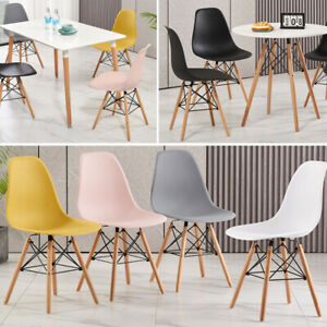 Retro Dining Table and Chairs 4 Set Wooden Legs Room Kitchen Lounge Chair