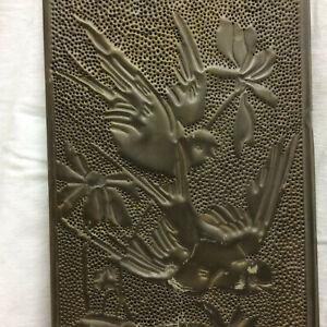 Victorian 1912 Pierced Brass Artwork Birds and Flowers Wall Hanging Scissor Tail