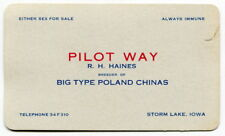"Vintage Business Card: ""Poland Chinas"" Hog Breeder - ""Either Sex For Sale"""