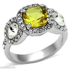 Ladies Yellow Topaz Center Stone Silver Rhodium Plated Ring Size 7