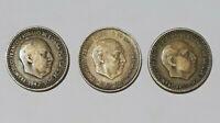 Vintage 3 Coin Spain,1947,1953,1963, Una Peseta, Francisco Franco,  collection