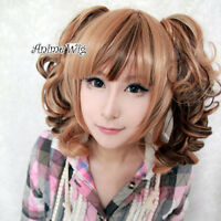 Lolita Medium Curly Blonde Mixed Dark Brown Anime Cosplay Wig + 2 Ponytails