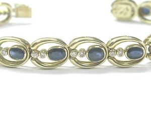Fine Gem Sapphire Diamond Yellow Gold Tennis Bracelet 8.10Ct