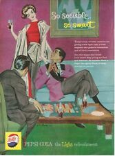 1959 Pepsi Cola PRINT AD Feat: Roy Benes Art Men Playing Backgammon Lady in back