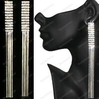"6""LONG screw CLIP ON EARRINGS crystal RHINESTONE LIQUID SILVER PLT glamour clips"