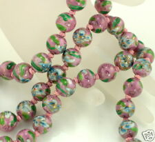 Vintage Hand Painted Pink Porcelain 12 mm Beaded Knotted Flower Clasp Necklace