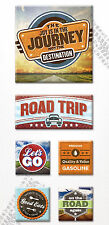 Paper House ROAD TRIP 3-D Canvas Art Stickers scrapbooking RETRO TRAVEL