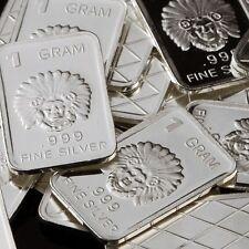 """Indian Chief"" Design. Lot of 10, 1 gram .999 Fine silver bullion bar. NEW!"
