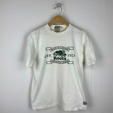 Roots Made In Canada Vintage T-shirt Size Large White Single Stitch 90s