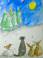 ACEO original watercolour painting - Moonwatching - by Polly