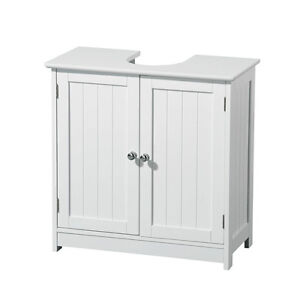 Portland White Wood Under Sink Storage Cabinet Double Door With Chrome Handle