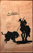 Picasso firmado Acuarela jinete torero en hoja musical