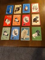 12 Vintage Swap Playing Trading Cards Cats Cat Card