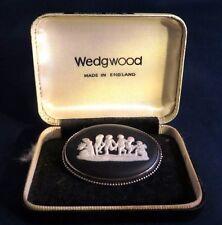 Wedgwood Black Jasperware Cherub Cameo Pin Brooch