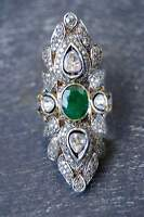 Victorian 1.47 Ct Rose Cut Diamond & Emerald Sterling Silver Engagement  Ring