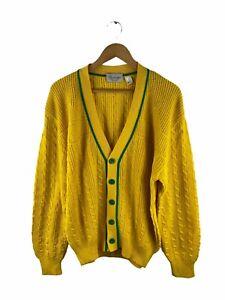 VINTAGE Modango Button Up Knit Cardigan Men Size M Yellow Long Sleeve Wool Blend