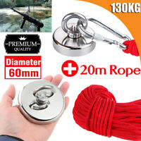 FREE 10mt Rope Strong 130Kg Magnet Treasure River Fishing Metal Nail Recovery