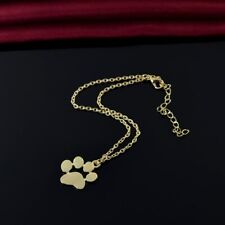 Dog Paw Print Pendant Necklace with Link Chain - Gold - Ships Free from the USA