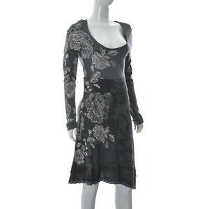 Desigual Women's Lace Trim Hem Dress Black U-Neck Long Sleeve Floral Print L