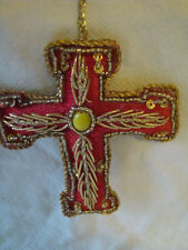 RED, GOLD EMBROIDERED CROSS WALL HANGING HANDMADE INDIA, IDEAL CHRISTMAS DECOR