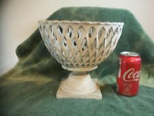 Vintage Rare French Cast Iron Lattice Garden Urn Metal Footed Planter Rare !