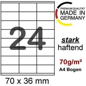 240 Etiketten selbstklebend 70 x 36 mm Internetmarke Briefmarke auf DIN A4 Blatt