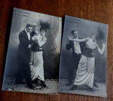 2 CPA Danse Mlle Odette Bernard et Prof Almanos Mode années 20 Robe