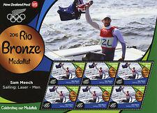 New Zealand NZ 2016 MNH Rio Bronze Sam Meech Sailing 6v M/S Olympics Stamps