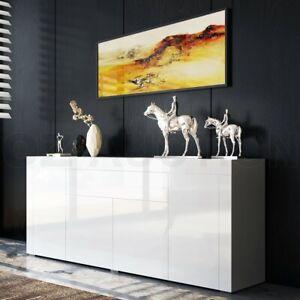 Modern Sideboard Buffet High Gloss Storage Cabinet 4 Doors Cupboard Table -White
