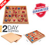 Montessori Wooden Movable Alphabet w/ Box for Kids Spelling Learning Red Blue
