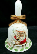 "Vintage Flambro Christmas Bell Santa Checking His List Bisque Porcelain 6"" Rare"
