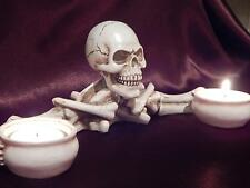 GOTHIC SKELETON SKULL HAND DOUBLE CANDLE TEALIGHT HOLDER ORNAMENT NEW