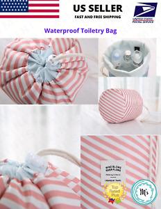 Waterproof Toiletry Makeup Bag For Travel Or Beach Drawstring Cosmetic Organizer