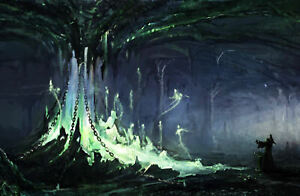 Framed Print - Wizard Battling Specters in a Cave (Fantasy Mythology Picture)