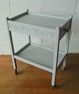 VINTAGE PAINTED CARVED TWO TIER TEA TROLLEY WITH DRAWERS ... postage just £11.99