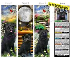 3-Pug 2019 Calendar Bookmark Dog Pugs Puggles Black Mix Card Makes Perfect Gift