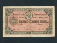 Finland:P-A51,10 Markkaa/TIO Mark,1889 * RARE * VF *