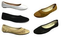 New Women's Ballet Flats Fashion Slip On Canvas Classic Ballerina Shoe   