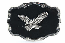Men Western Belt Buckle Silver Metal Cowboy Flying American Eagle Bling Black