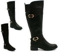 LADIES WOMENS FLAT KNEE HIGH ZIP BUCKLE RIDING BOOTS LEG MID CALF WINTER SIZE 3-