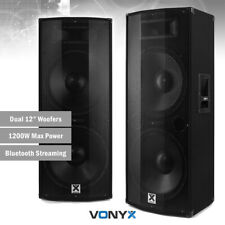 """Active Powered PA Speakers (Pair) with Bluetooth Dual 12"""" DJ Sound System 1200w"""