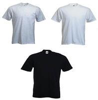 3 x Pack Fruit of the Loom Black White Grey T Shirt Mens T-shirt Cotton New UK