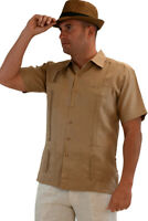 Mens Bohio 100% Linen Cuban Guayabera Classic 4-Pkt. Shirt (S~2XL)-LS499