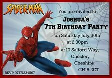 6 Personalised Spiderman Party Invitations With Envelopes